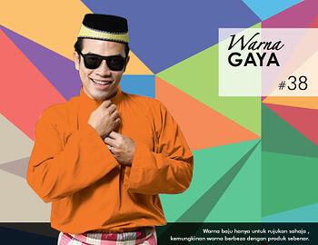 Baju Melayu -100 Warna Gaya 38 Orange Size XXL