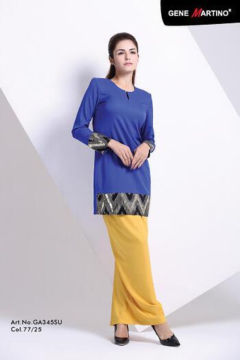 Baju Kurung Modern - GA345SU Col 77/25 Blue/Yellow Size XS