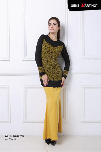 Baju Kurung Modern - GA822SU Col 99/43  Black/Brown Size L