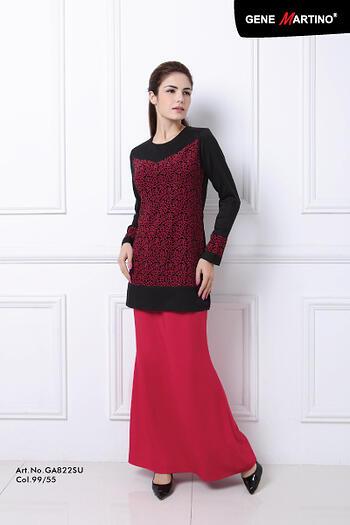 Baju Kurung Modern - GA822SU Col 99/55  Black/Red Size XS