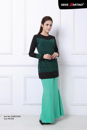 Baju Kurung Modern - GA822SU Col 99/84  Black/Green Size M