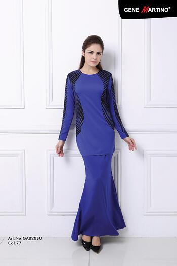 Baju Kurung Modern - GA828SU Col 77 Blue Size M