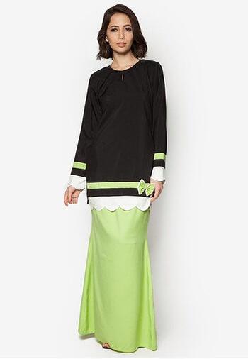 Baju Kurung Modern - GA656SU 9983 Green/Black XS