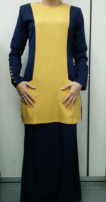 Baju Kurung Modern - GA831SU 4379 Yellow/Blue XL