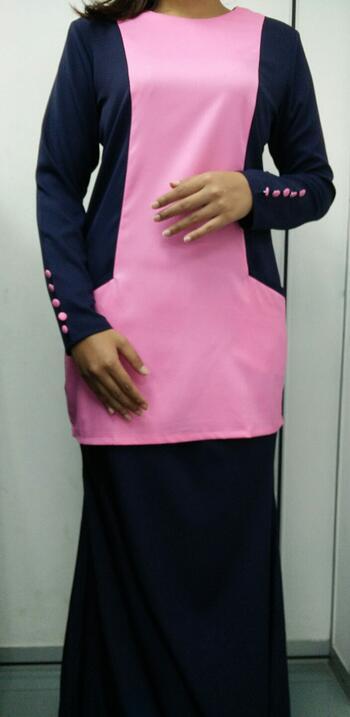 Baju Kurung Modern - GA831SU 5477 Pink/Blue XXL