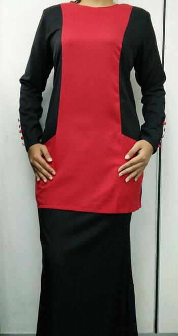 Baju Kurung Modern - GA831SU 5599 Red/Black XS