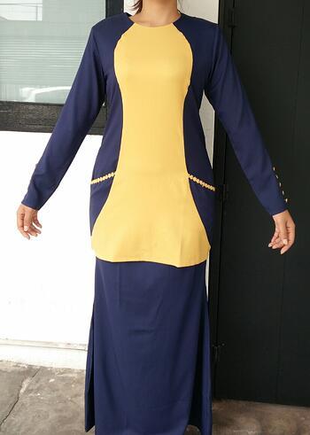 Baju Kurung Modern - GA836SU 7943 Blue/Yellow XS