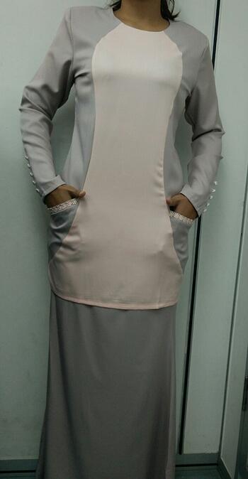Baju Kurung Modern - GA836SU 9232 Grey/LightBrown S