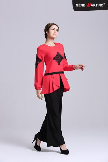 Baju Kurung Modern - GA677SU 5599 Red/Black XS